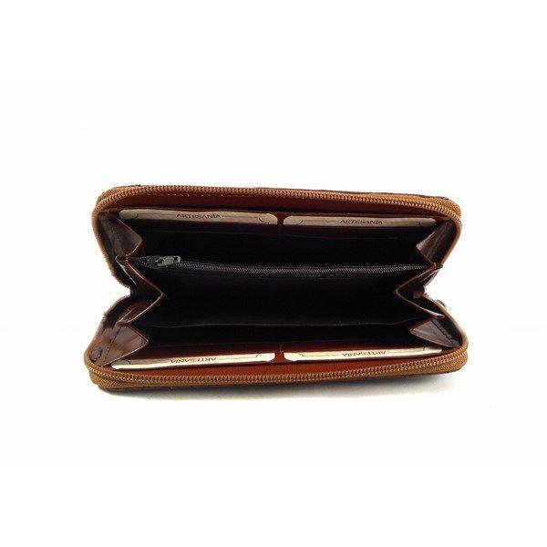 Cartera de piel de cremallera Nilo trenzada de estilo navajo