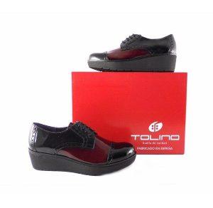 Zapatos mujer Tolino Comfort abotinados en charol negro y burdeos 161316