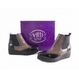 Botines bloque de Vitti Love en piel charol negro y taupe