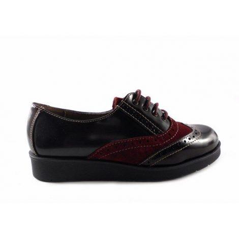 Zapatos blucher con cordones Kiargo 252-J negros con ante burdeos