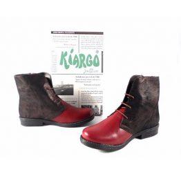 Botines planos Kiargo piel en color rojo combinado con burdeos 1342