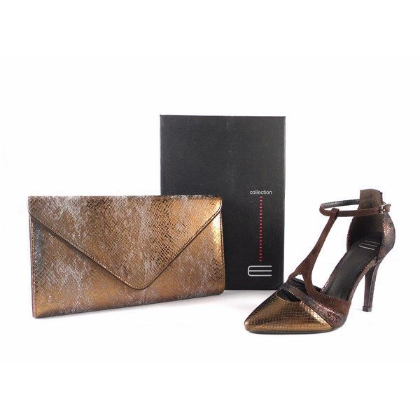 Zapatos de fiesta E.Ferri tipo salón en bronce combinado