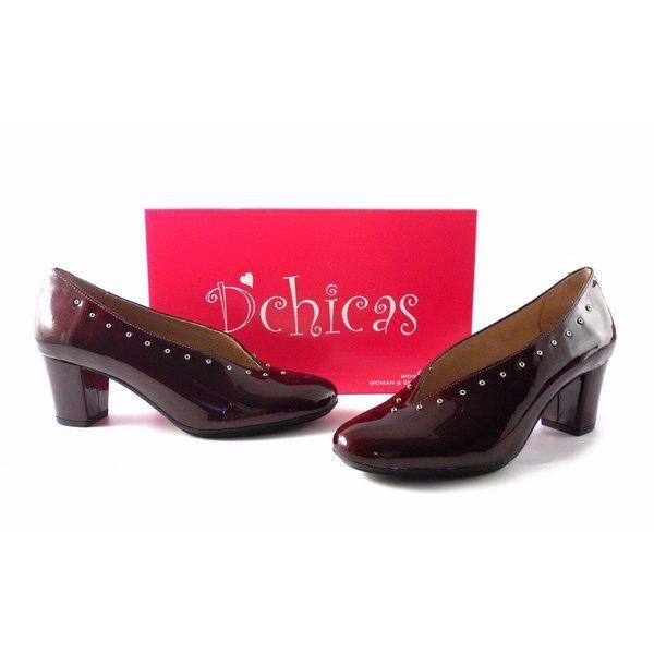 2c195f9178 Zapatos de salón D´Chicas escotados en burdeos charol