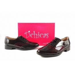 Zapatos Oxford para mujer D´Chicas en charol negro y burdeos