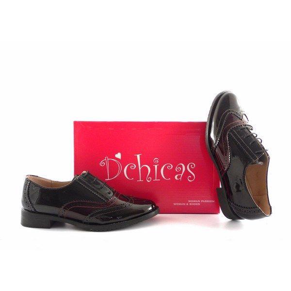 Zapatos Oxford para mujer D´Chicas en charol negro y burdeos 9327e353d449