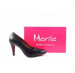 Zapatos de salón en piel Marila Shoes N1160 azul marino con charol en puntera
