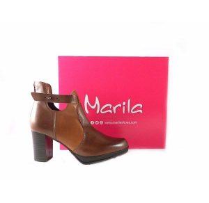 Botines de tacón Marila Shoes N404 marrón con cuero