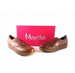 Zapatos Marila Shoes confort N631 con cordones combinados en rojo
