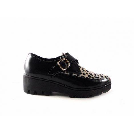 Bluchers para mujer Nature Shoes con pelo de leopardo blanco