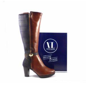 Botas altas piel Vitti Love de tacón combinadas en cuero y azul marino 4739