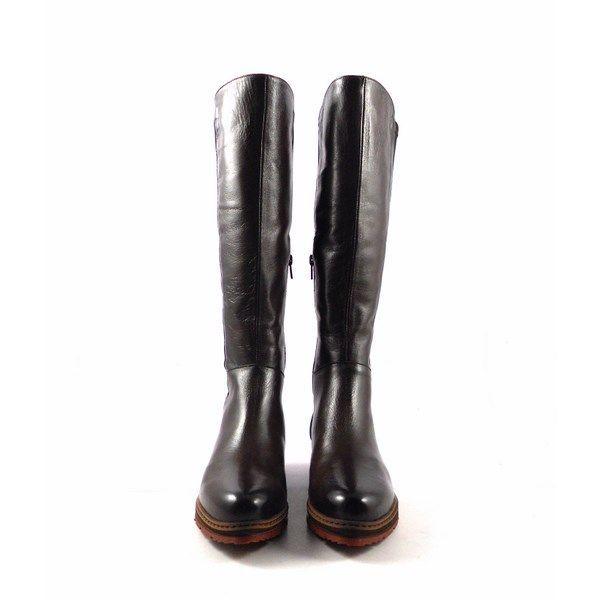 Botas altas planas Vitti Love en piel con elástico en marrón chocolate 4667