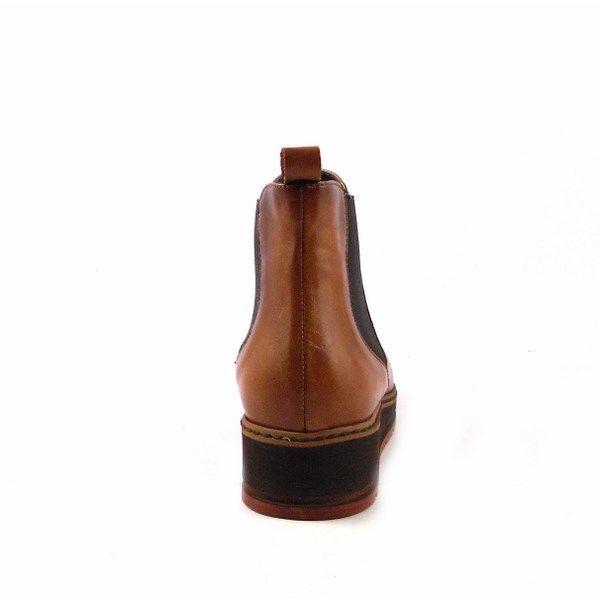 Botines planos Vitti Love en piel con elástico marrón chocolate 4661
