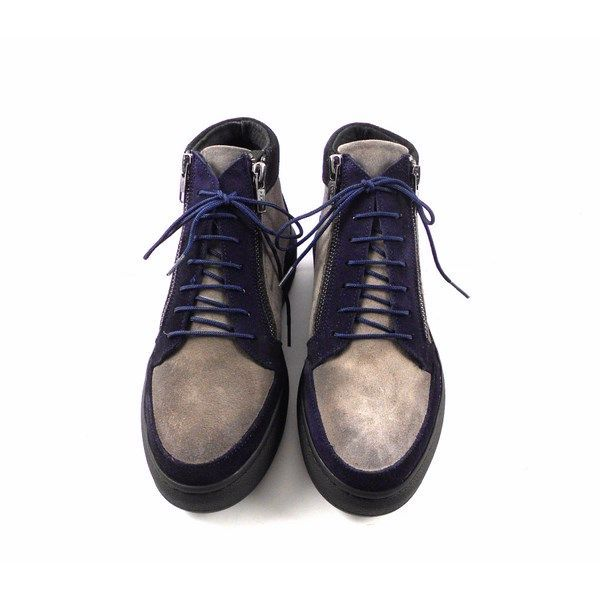Botines sport Vitti Love serraje azul marino y gris 4587
