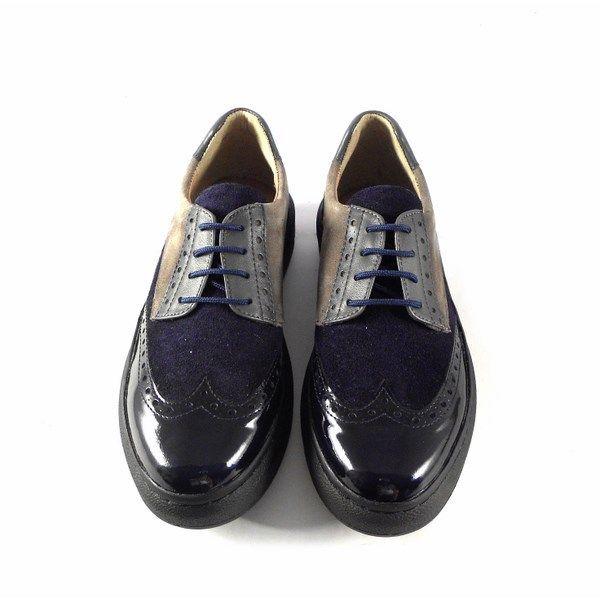 Zapatos Vitti Love 4582 oxford confort combinados en serraje marino y gris y charol