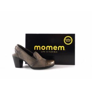 Zapatos abotinados Momem/ Goflex en serraje gris con piel metalizada 0509