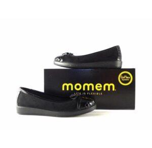 Manoletinas Momem / Goflex en color negro con suela ancha de goma 0303