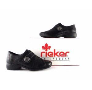 Zapatos Rieker Dips L3870 en color negro con cuña forrada