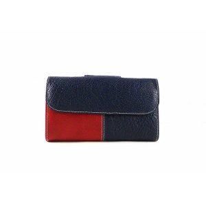 Billetera de mujer en piel mediana Nilo blanca, azul marino y roja