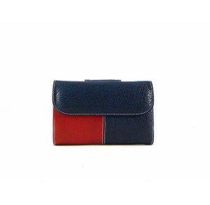 Billetera de mujer en piel pequeña Nilo blanca, azul marino y roja