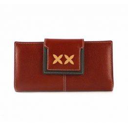 Cartera billetera de mujer en piel Nilo de tamaño grande marrón