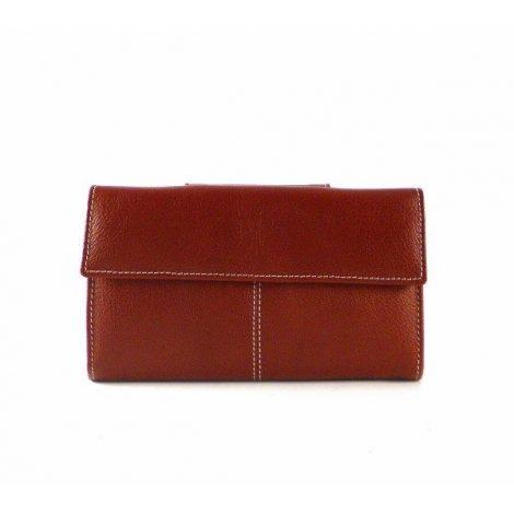 Cartera billetera de mujer en piel Nilo de tamaño mediana marrón