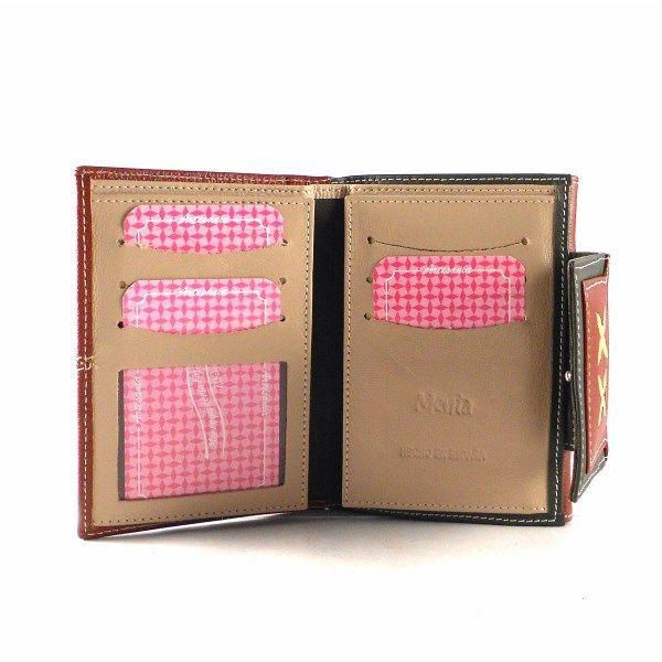 Cartera billetera de mujer en piel Nilo de tamaño pequeño caoba