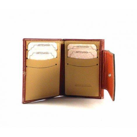 Cartera billetera de mujer en piel Nilo de tamaño mini caoba
