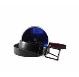 Cinturón reversible Miguel Bellido negro - burdeos brillo
