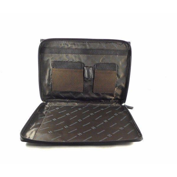 Carpeta de mano en piel Hexagona con doble compartimento