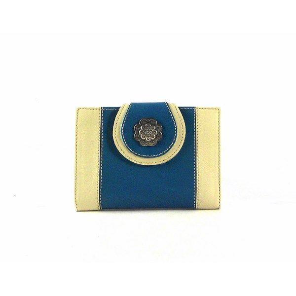 Billetera de mujer tamaño pequeño en piel combinada