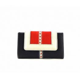 Billetera para mujer piel mediana azul marino/blanco/rojo