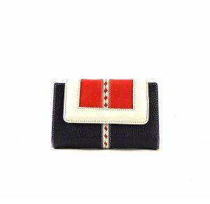 Billetera para mujer piel pequeña azul marino/blanco/rojo