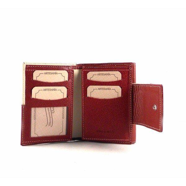 Billetera para mujer en piel Nilo de tamaño pequeño en beige con burdeos