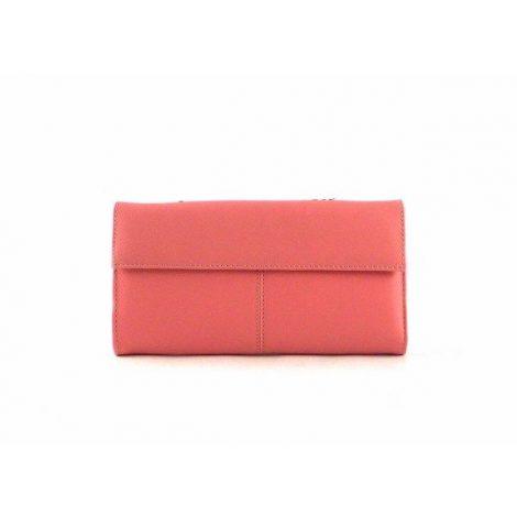 Billetera de mujer en piel grande estilo vintage rosa combinada