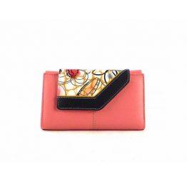 Billetera de mujer en piel mediana estilo vintage rosa combinada