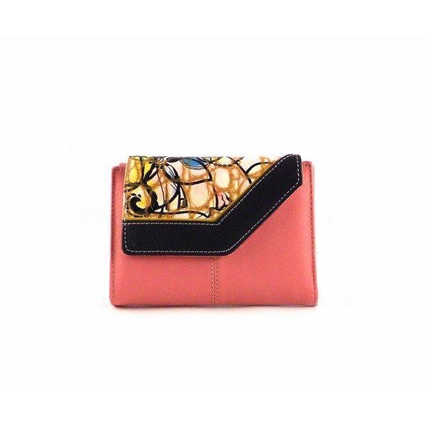 Billetera de mujer en piel pequeña estilo vintage rosa combinada