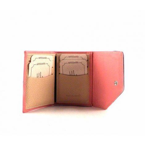 Cartera mini piel de mujer estilo vintage en color rosa