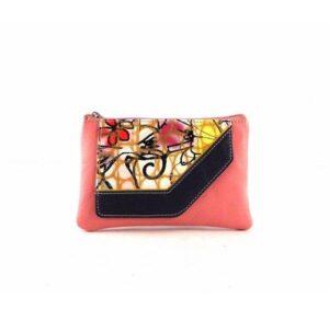 Monedero para mujer en piel estilo vintage rosa coral con cremalleras