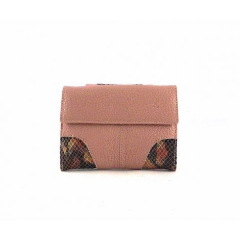 Billetera para mujer de piel Nilo combinada en rosa maquillaje pequeña