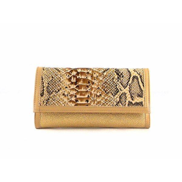 Billetera de mujer grande en piel con solapa en oro glitter Nilo