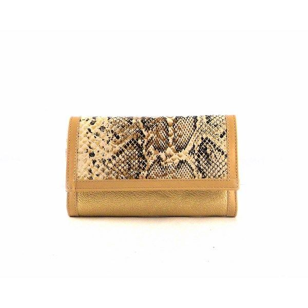 Billetera de mujer mediana con solapa en piel en oro glitter con serpiente print
