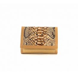 Billetera de mujer pequeña con solapa en piel en oro glitter con serpiente print