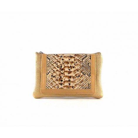 Monedero para mujer de cremallera en piel oro glitter
