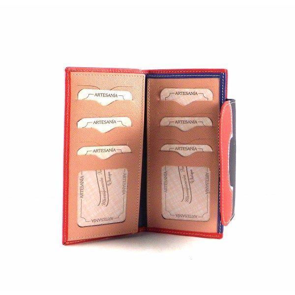 Billetera para mujer de piel tamaño grande con monnedero de cremallera