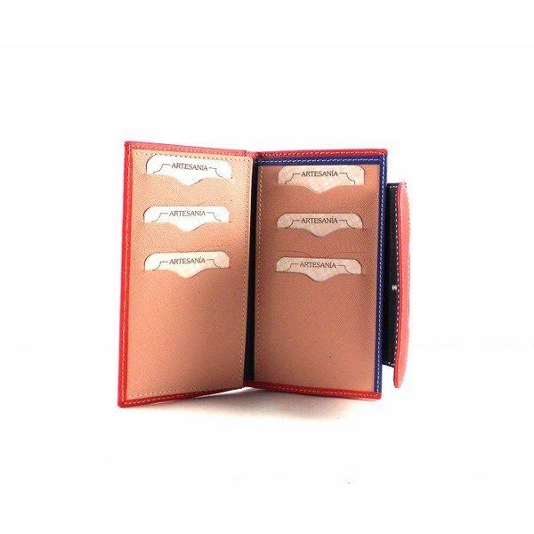 Billetera para mujer de piel tamaño mediana con monedero de cremallera