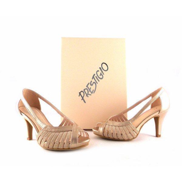 Sandalias de fiesta Prestigio peep toe en color champán con glitter