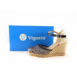 Cuñas de esparto Lucía Viguera con pulsera al tobillo en calado negro
