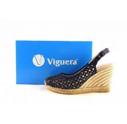 Esparteñas de cuña caladas Lucía Viguera en color azul marino