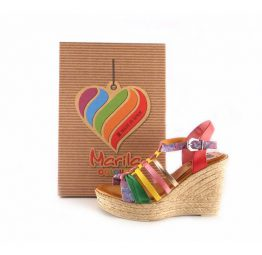 Sandalias de cuña Marila Shoes de tiras de colores N120