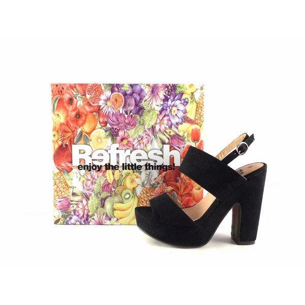 Sandalias de tacón de dos tiras Refresh antelina color negro 63350